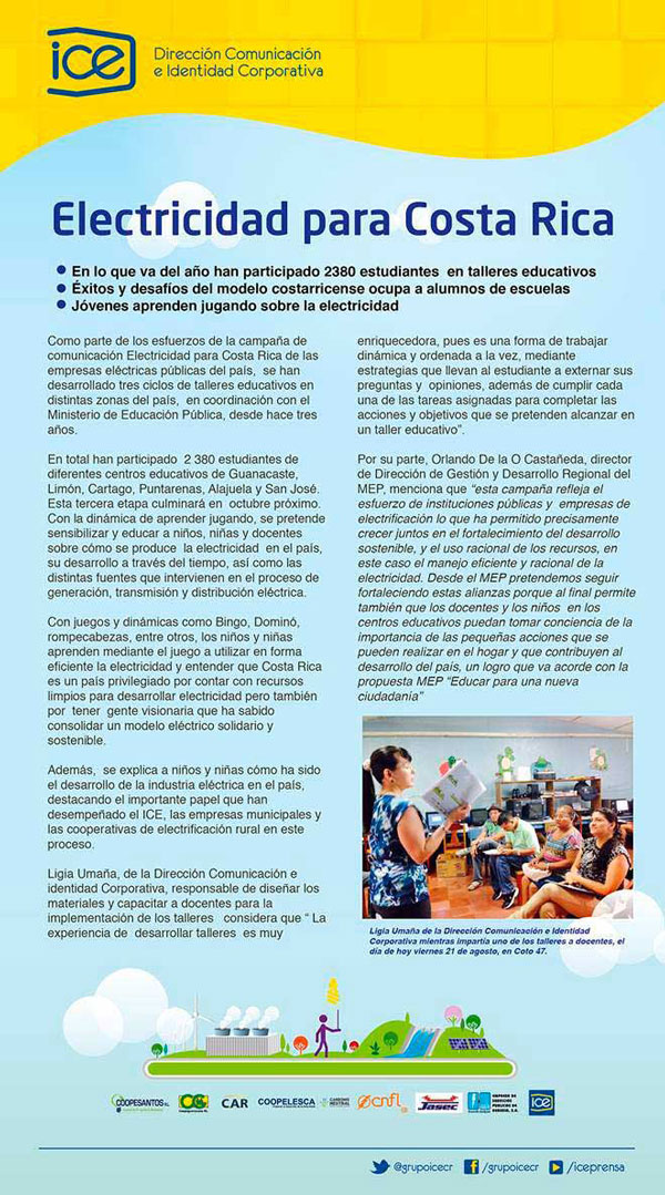 """Brochure with all the information on the subject """"Electricity for Costa Rica"""""""